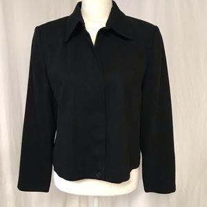 Pendleton Black Wool Blend Zip Front Blazer 10P